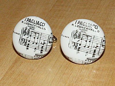 I Pagliacci Opera Vintage Pair Porcelain Men's Jewelry Cufflinks