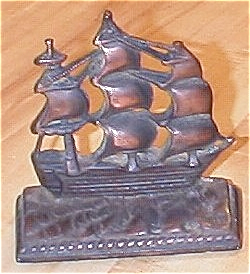Single Old Heavy Cast Metal Clipper Ship Bookend Or Doorstop
