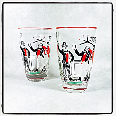 Libbey Pickwick Dickens Pair Of Tall Cocktail Glasses