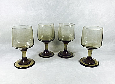Set (4) Libbey Tawny Accent #3761 6 1/2 Ounce Wine/juice Footed Goblets