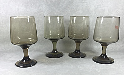 Set (4) Libbey Tawny Accent #3755 11 1/4 Ounce Footed Goblets
