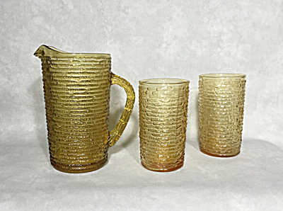 Anchor Hocking Honey Gold Soreno Pitcher And Two Tumblers