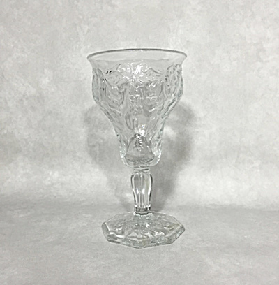 Mckee Art Deco Rock Crystal Clear 8 Ounce Footed Goblet