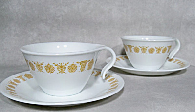 2 Corelle Corning Butterfly Gold Cup Saucer