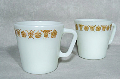 Pair Pyrex Butterfly #1410 Handled Gold Coffee Mugs