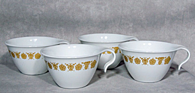 4 Corelle Corning Butterfly Gold Stack Cups