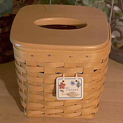 Longaberger Tall Tissue Basket With Lid Set