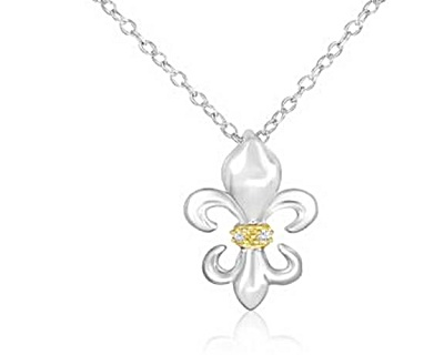 Sterling Silver Fleur De Lis Diamond Accent Pendant