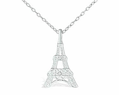 Sterling Silver Diamond Eiffel Tower Pendant