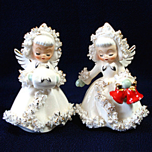 Holt Howard Ermine Spaghetti Angels Christmas Candle Holders Set