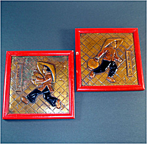 Tooled Copper Chinese Couple Framed Pictures