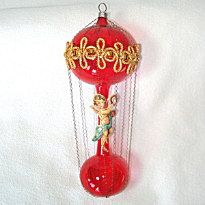 Wired Wrapped Balloon Christmas Ornament With Angel Scrap In Box
