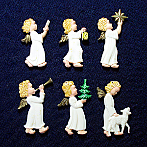 Germany Painted Plastic Barefoot Angels Christmas Ornaments Set 6