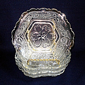 4 Indiana Sandwich Glass Hexagonal Bowls