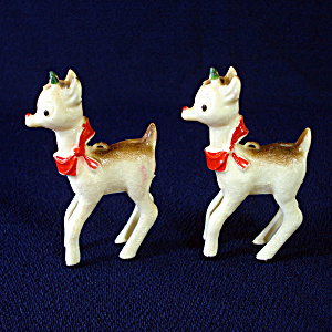 2 Rudolph Red Nosed Reindeer Hard Plastic Christmas Ornaments