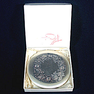 Zell Fifth Avenue Silverplate Etched Flowers Powder Compact With Box