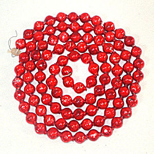 Large Bead Red Mercury Glass Christmas Garland