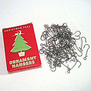 Box 1930s National Tinsel Steel Christmas Ornament Hangers Hooks