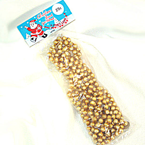 1950s Gold Glass Bead Christmas Garland Mint In Package 9 Feet