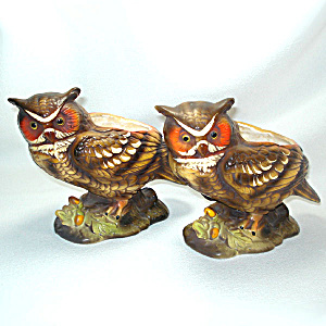 Pair Napco Great Horned Owl Ceramic Figural Planters