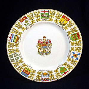 Canada Souvenir Plate With Provincial Coats Of Arms Crown Ducal