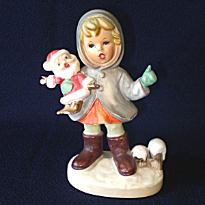 Napco Porcelain Bisque Girl With Santa Doll Christmas Figurine