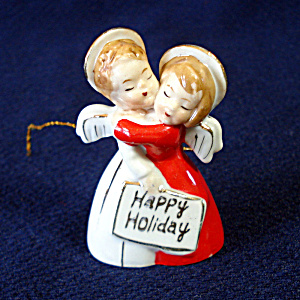 Ardalt 1950s Hugging Angels Porcelain Bell Christmas Ornament