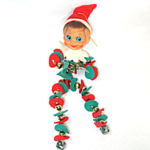 Retro Christmas Pixie Elf Mercury Glass Bead And Jingle Bells Body