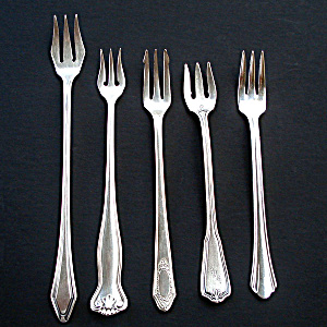Mixed Lot 5 Silverplated Olive Pickle Cocktail Forks