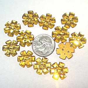 12 Gold Glass Flower Buttons Or Sew-on Jewels