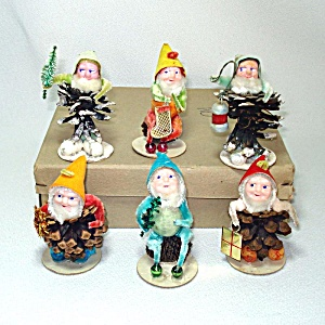 Box Spun Cotton Christmas Putz Pine Cone Gnomes Dwarfs