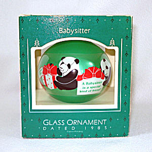 Hallmark 1985 Babysitter Glass Christmas Ornament In Box