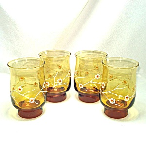 4 Libbey Amber Glass Flower Blossom Water Tumblers