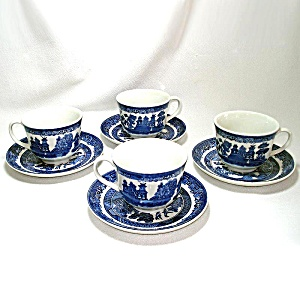 Johnson Brothers 4 Blue Willow Cups And Saucers Mint
