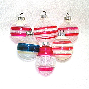 6 Shiny Brite Unsilvered Glass Mica Christmas War Ornaments