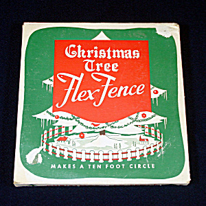 1950s Red White Metal Christmas Tree Fence Unused In Box