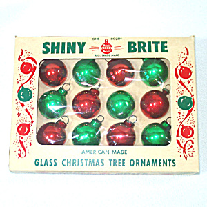 Box 12 Red Green Shiny Brite Miniature Glass Christmas Ornaments