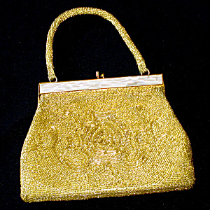 Delill Gold Beaded Handbag Purse Mother Of Pearl Frame