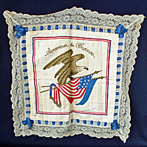 Embroidered Patriotic Eagle Flags Pillow Cover Wwi France Souvenir