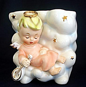 Enesco Sleeping Angel In Clouds Figural Planter