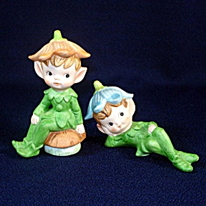 Bisque Flower Fairy Pixie Boy Elf Figurines