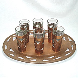 Hand Tooled Copper Over Glass Liqueur Or Cordial Set On Tray