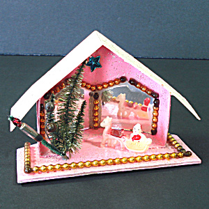 Christmas Mica Putz Diorama House With Beads, Mirrors, Santa