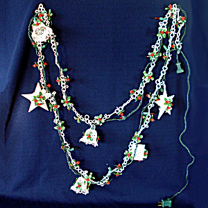 1960s Soft Plastic Filigree Ornaments Holly Christmas Garland