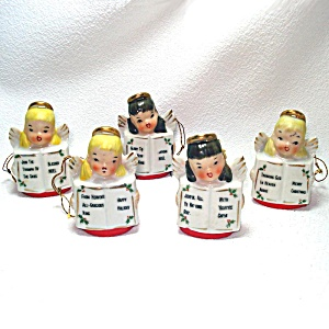 Ardalt Porcelain Christmas Angel Bells Ornaments