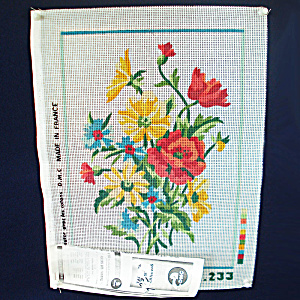 Dmc French Flower Bouquet Needlepoint Canvas To Stitch
