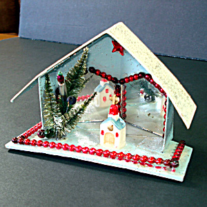 Christmas Mica Putz Diorama House With Beads, Mirrors, Church