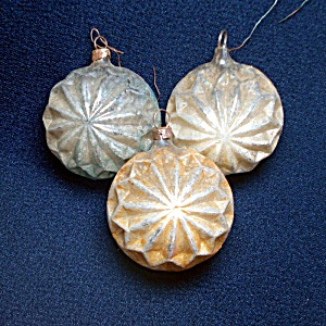 Antique Germany Quilted Starburst Glass Christmas Ornaments