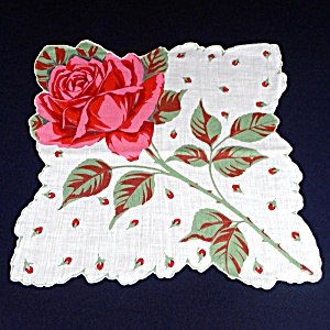 Scalloped Pink Rose Stem Ladies Cotton Hankie