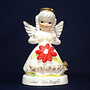 Napco December Christmas Spaghetti Angel Figurine
